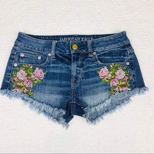 American Eagle Embroidery Denim Shorts